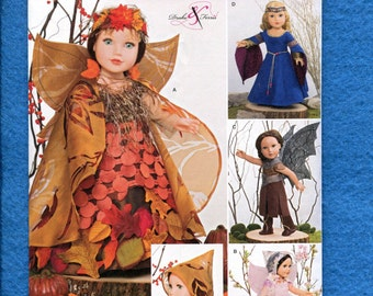 Simplicity 1134 Forest Fairy Costumes for Dolls Size 18 inch Doll UNCUT