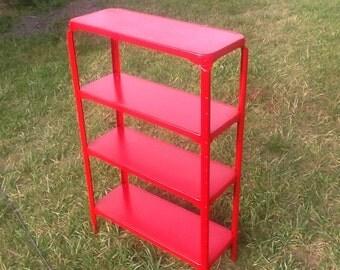Metal Standing Kitchen Shelf Red Vintage