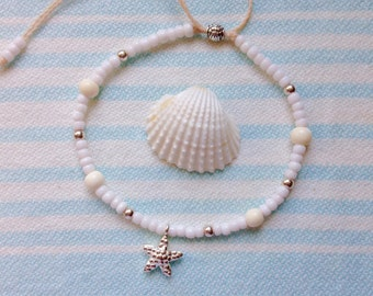 Beach anklet, sterling silver starfish anklet, beachcomber beach jewelry, mermaid anklet, beach wedding jewelry