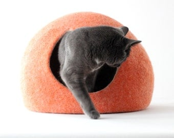 M size cat cave - cat bed - orange cat house - ready to ship cat bed - felted wool cat bed