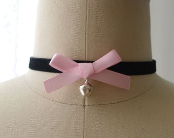 Statement Necklace Choker Black Velvet Baby Pink Bow with Bell Handmade Punk Rock , goth gothic Lolita cute steampunk