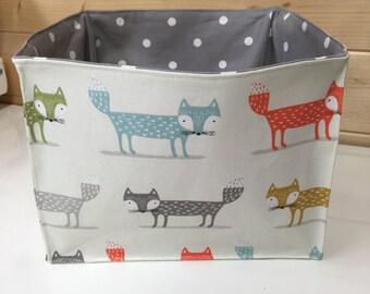 Fox Fabric organiser nursery storage basket