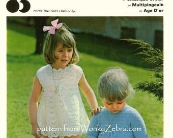 Vintage Crochet Toddler DRESS Pattern PDF B124 from WonkyZebra