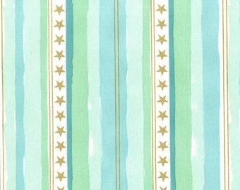Magic -  Stars and Stripes in Aqua Metallic - Sarah Jane for Michael Miller - MD7195-AQUA-D - 1/2 Yard