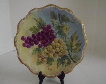 Antique Coiffe Flambeau Limoges, Hand Painted, Cabinet Plate, Artist Signed, Grapes on Vine, Limoges Collector, Circa 1891-1914