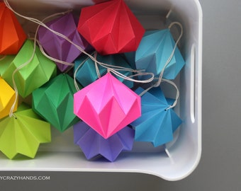 12 rainbow origami diamonds . party decorations . origami kusudama .  paper diamonds . holiday ornaments . origami diamond ball . geometric