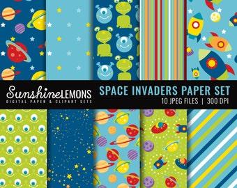 Space Digital Scrapbooking Paper Set - Space Alien Digital Paper Set - COMMERCIAL USE Read Terms Below