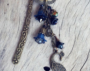 THESE DREAMS Victorian Heirloom Metal and Beaded Bookmark, Ready to Ship