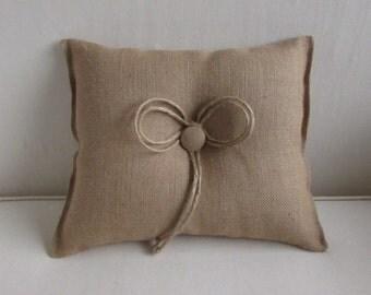 Double Bow natural burlap decorative throw pillow 11X13