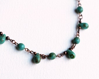 Green Bead Necklace Jasper Beaded Jewelry Short Boho Teardrop Turquoise Blue Rustic Copper