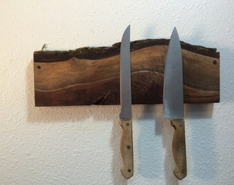 Live Edge Walnut Magnetic Knife Rack