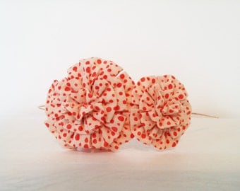 Headband / Fascinator Embellished with Two Print Fabric Flowers