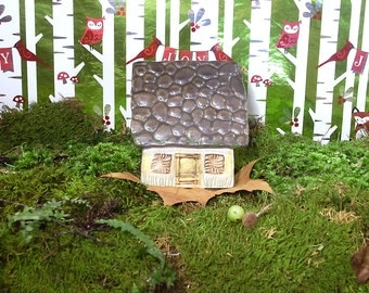 Square Fairy House with Stone Roof