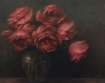 Original Oil Painting Pink Roses