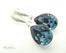 Wedding Jewelry Swarovski Crystal Denim Blue Teardrop Earrings Bridesmaid Jewelry Bridesmaid Gifts Bridal Earrings Navy Blue Earrings