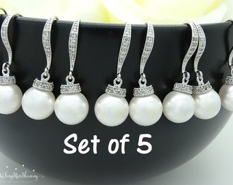 Wedding Jewelry Bridesmaid Gift Bridal Pearl Jewelry Bridesmaid Jewelry Bridal Earrings Pearl Earrings Pearl drop Earrings Set of 5