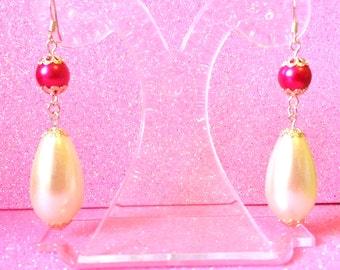 Pink White Earrings Pearl Fashion Earrings Long Dangle Earrings Pierced Earrings  Ladies Jewellery Gifts for her