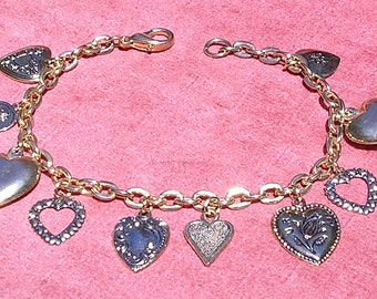 Hearts of Gold  :  Charm Bracelet