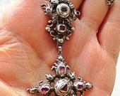 Antique sterling french cross Garnets diamonds georgian  austro hungarian? Very old flemish