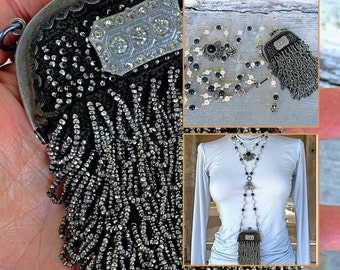 Antique steel beaded flapper purse necklace assemblage statement