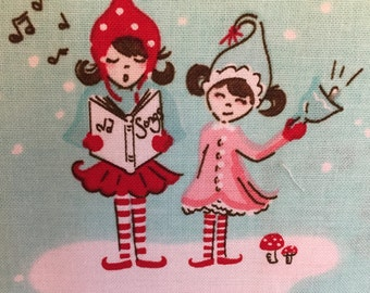 Pixie Noel Main Christmas fabric in Aqua by Riley Blake