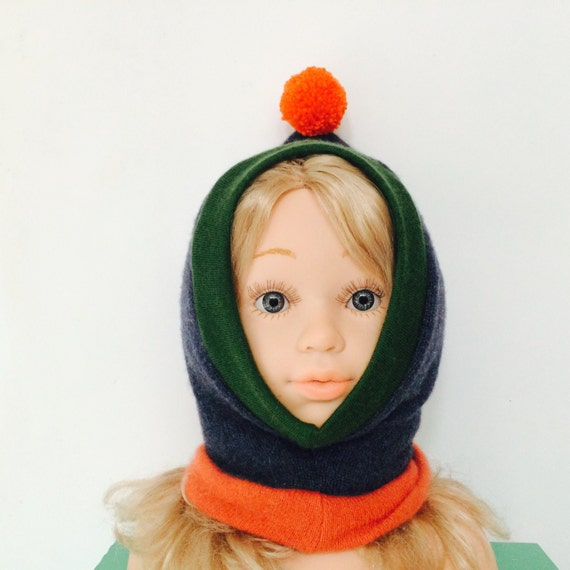 DIZZY 3-6 Months Cashmere Kids Hat Balaclava Toddler Childrens Bobble Hat Snood Hoodie Upcycled Cashmere Pom Pom Unisex