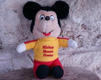 Mickey Mouse Doll Vintage Mickey Doll Walt Disney Toy 70's Mickey Mouse Power 1977 Knickerbocker Stuffed Animal