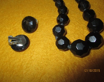 Vintage Black Beads with Clip on Earrings - Set