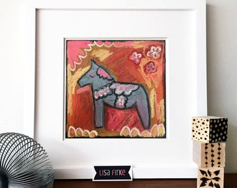 Dala Horse pink red and gray nursery art print