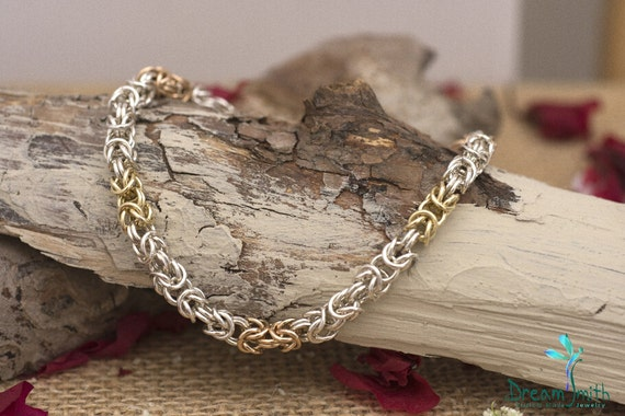 Sterling Silver With 14K Red and Yellow Gold Byzantine Bracelet