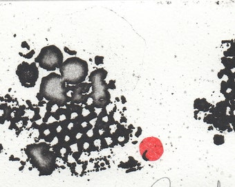 Small Abstract Etching. Black and White Modern Etching Print. Original Printmaking and Collage. Simple Art Print. Abstract Intaglio Print.