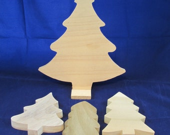 Raw Wood Craft Supplies Destash - Christmas Trees Pine