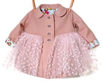 Girls Tutu Coat, Toddler Winter or Spring / Fall Coat