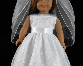 Sleeveless First Communion, Wedding, or Flower Girl Dress for 18 Inch Doll and American Girl