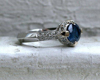Beautiful Vintage Sapphire and Diamond 18K White Gold Ring Engagement Ring - 2.08ct