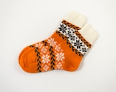 Knitted Wool Socks, Folk Pattern Socks - Orange, Size Large