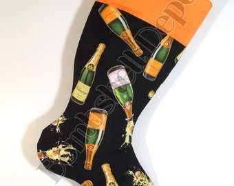 Champagne Christmas Stocking Fully Lined