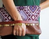 OOAK Kilim design wristlet, oversized handbag, festival boho clutch, leather and Turkish fabric. With detachable strap. Ready to ship