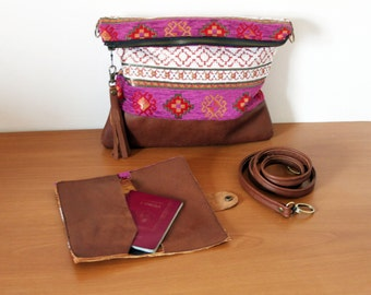 Boho crossbody bag and/or clutch, detachable shoulder strap, tribal kilim design, brown leather tassel. Magenta, gold, cream. Ready to ship
