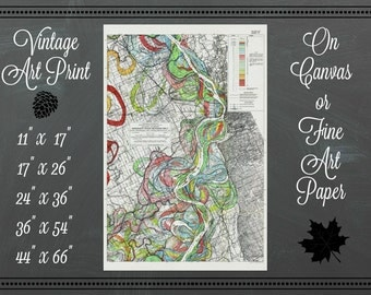 Mississippi River Map No. 5 Print / Canvas Fabric or Fine Art Paper / Vintage Art