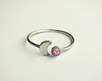 FALL SALE sterling silver moon pink opal ring, hammered ring, fire opal ring, moon ring, sterling silver jewelry