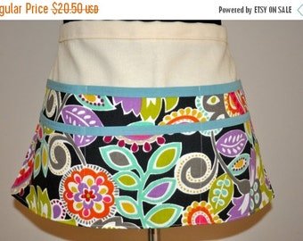 ON SALE Utility Apron, Teacher apron, Gardening apron, Craft fair apron, Brightly colored apron, Women's Vendor Apron,  Bright Modern Floral