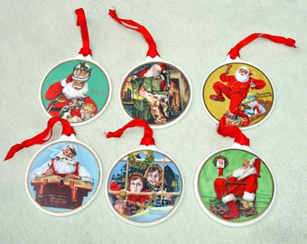 6 Norman Rockwell Christmas ornaments - 24 karat cold trimmed