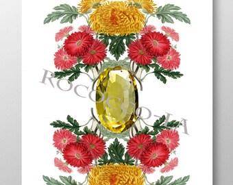 Birth Stone&Flower Print /NOVEMBER/Topaz/Chrysanthemum/Mixed media art/Motivational art/illustration/Birth Day gift/Mothers day, poster-8x10