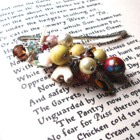 Large Bookmark with Earthy Beads, Unique Bookmark, Cluster Bookmark, Teacher Gift, Summer Finds, Payday Treat, 30th Birthday Gift, Mum Gift