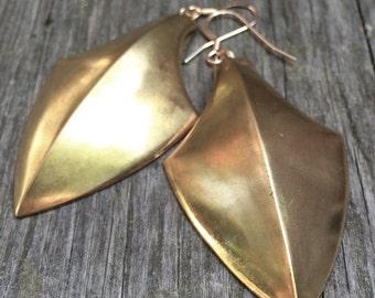 raw BRASS shield statement earrings