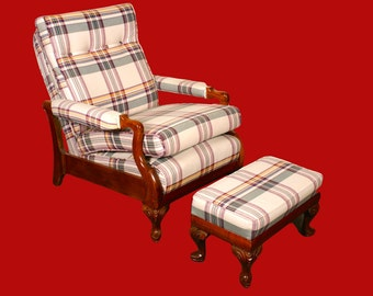 Vintage Recliner Streit Slumber Chair 1930s Plaid with Footstool
