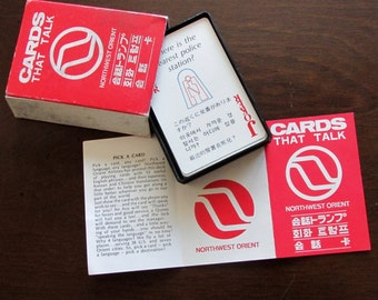 Talking Cards Northwest Orient Airlines Playing Cards 1970s