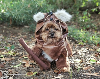 Adorable Furry Reddish Brown Woodland Dog Halloween Costume with hood