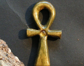 Ankh Egyptian symbol Green hand carved wooden pendant
